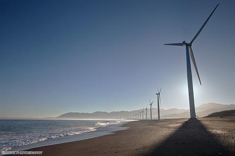 Bangui Bay is the only operating wind farm in the Philippines