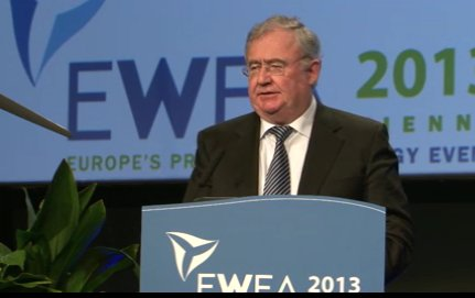 Irish energy minister Pat Rabbitte speaking at this year's EWEA conference