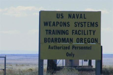 The wind farms are near an Oregon naval training facility