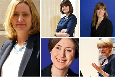 Clockwise from left: Amber Rudd, Kate Henderson, Joanna Averley, Liz Peace, Martha Grekos