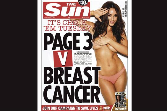 The Sun: partnered with breast cancer CoppaFeel