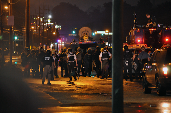 Protesters clashed with police in Ferguson, Missouri, in August.
