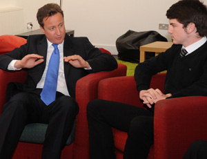 Cameron met pupils at white paper launch