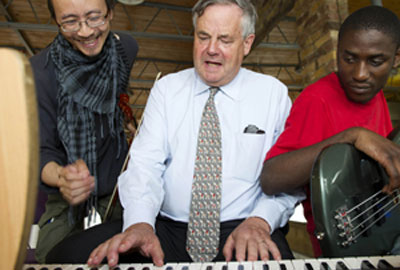 Sir David Bell visits a music workshop with members of Crisis [by Zak Waters]