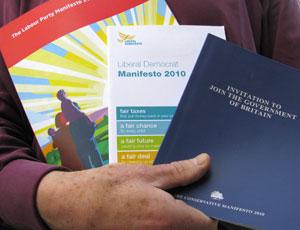 Labour, Liberal Democrat and Conservative manifestos