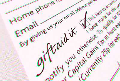 Gift Aid: paper copies would eventually go