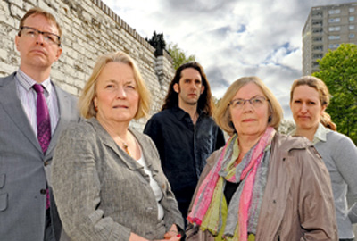 Austerity Watch panel members (l-r) Craig Dearden-Phillips, Dame Mary Marsh, Toby Blume, Cathy Pharoah and Helen Simmons