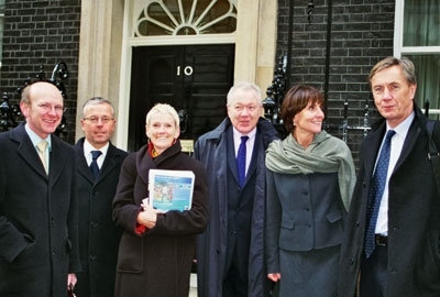 Acevo at Number 10 in 2006: from left: John Low, Stephen Burke, Barbara Frost, Roger howard, Clare Tickell and Neil McIntosh