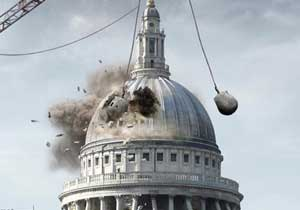 ActionAid's digital mock-up showing the demolition of St Paul's