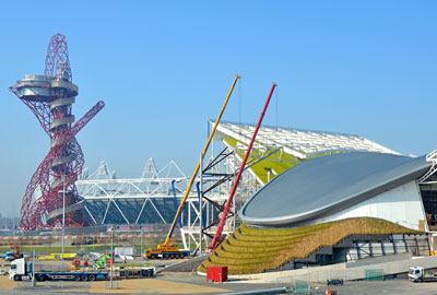 The Aquatics Centre, right