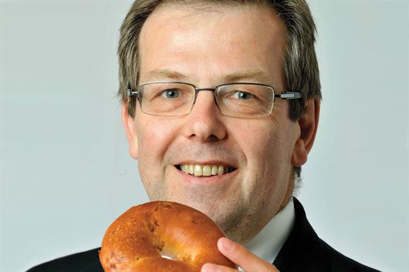 Hugh Biddell with bagel