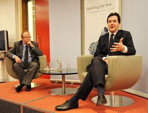Chancellor George Osborne with Times columnist Daniel Finkelstein
