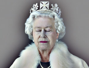 An unusual image of HM the Queen