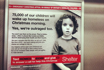A recent Shelter advert on a train [picture: Howard Lake]