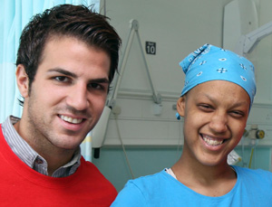 Be a giver: Fabregas (left) with patient Gemma Ozdemir