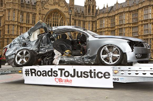 Wreckage: the Audi car was displayed in Westminster