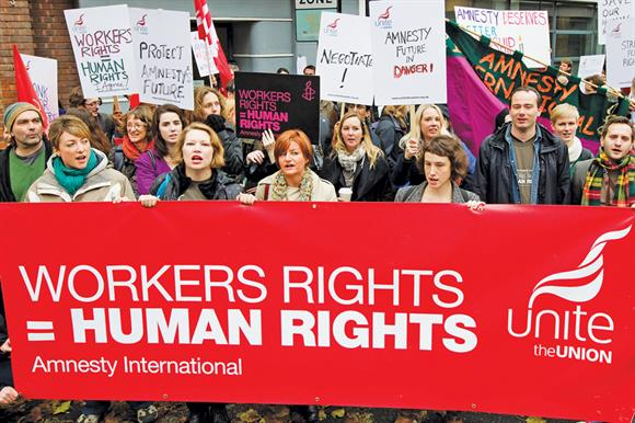 Strike members of Amnesty demonstrate in November 2012