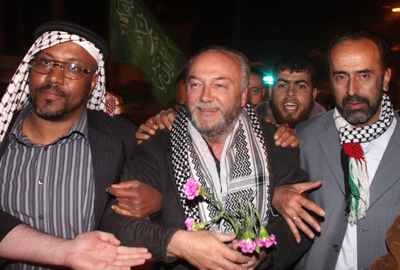 George Galloway, centre, in Gaza in 2010