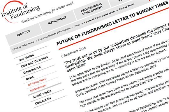 Institute of Fundraising letter