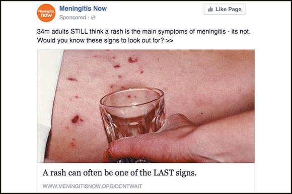 Meningitis Now advert banned by Facebook