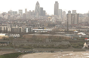 A view of London from the Olympics site