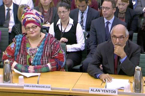 Camila Batmanghelidjh and Alan Yentob at the committee hearing today