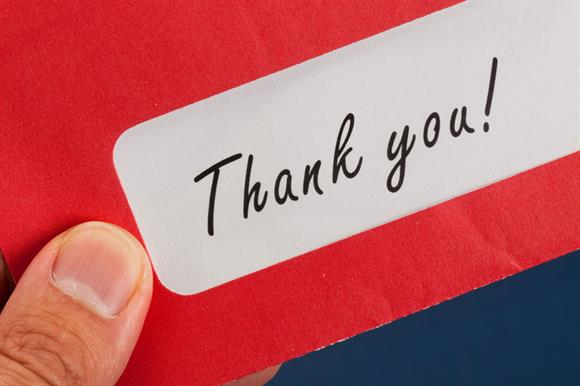 Thank-you letters: 39 per cent said these were important