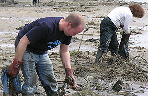 Volunteers help clean up a river