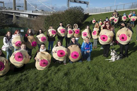 Mammary grand: CoppaFeel! marchers in Cornwall