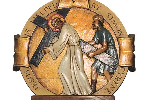 'Jesus is helped by Simon of Cyrene': plaque in St Martin's Church, Ruislip, London