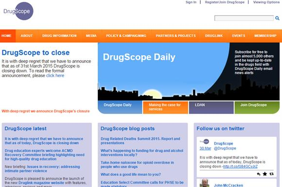 The DrugScope website