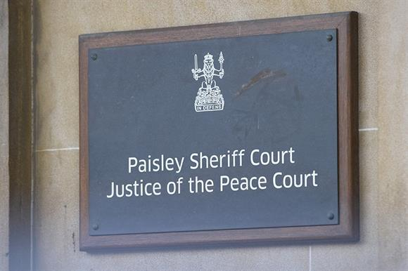 Paisley Sheriff Court (Photograph: John Linton/PA Archive/PA Images)