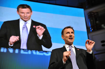 Good to talk: Jeremy Hunt praises BT in (Rex features)