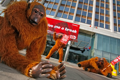 Monkey business: Greenpeace protesters at Nestle