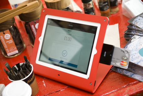Pop-up and pay: The iZettle mobile card-reading device was launched at a pop-up market