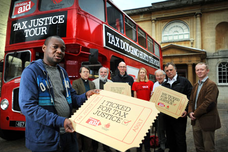 All aboard: Christian Aid campaigners in Oxford
