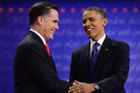Rivals: Mitt Romney and Barack Obama at their first TV debate (Credit: Rex Features)