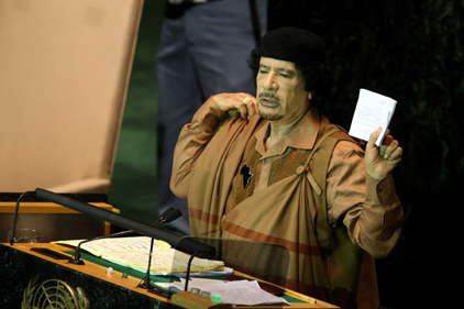 International links: Gaddafi visited the UN in 2009 [pic Rex Features]