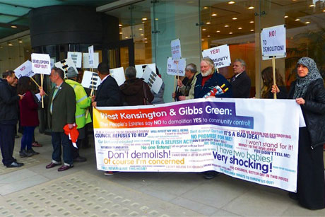 Edelman: Campaigners in front of its Victoria offices