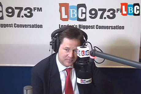 Nick Clegg: Radio phone-in on LBC