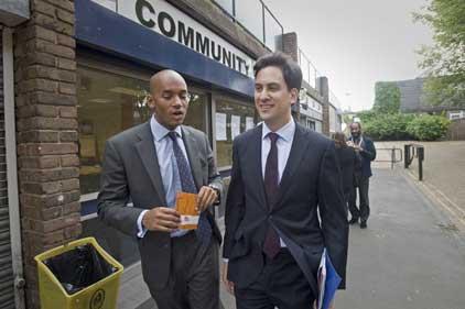 Ed Miliband: with Chuka Umunna MP