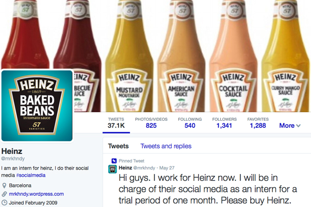 @mrkhndy pretended to be social media manager for Heinz
