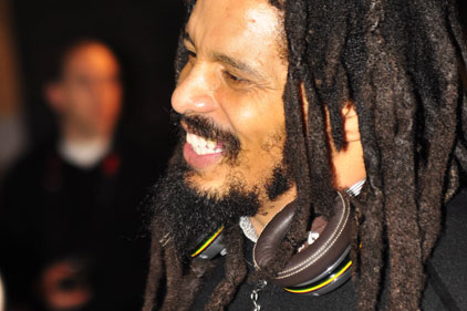 Rohan Marley: wears the new House of Marley headphones