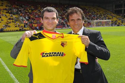 Shirt sponsor Miles Jacobson (left) and Watford's Gianfranco Zola