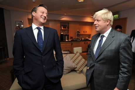 Feeling the love: David Cameron and Boris Johnson