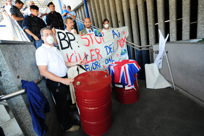 Protests: Environmental acivists' anger at BP in Milan