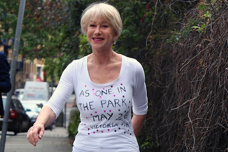 Bang on: Helen Mirren promotes drummers' charity gig (credit: Rex Features)