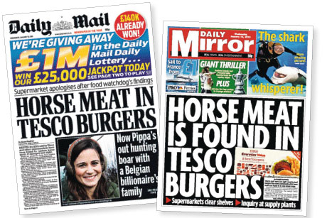 Headlines: How the tabloids reported Tesco's 'horsemeat' burgers