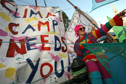 Colourful occupation: The camp protests in Trafalgar Square in December 2009