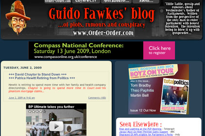 Guido Fawkes: popular political blogger